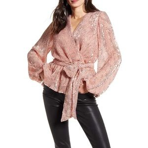 NWT Endless Rose Gold Sequin Blouse